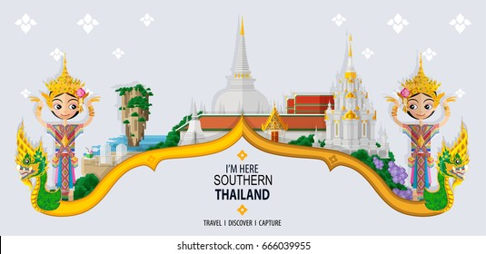 Thailand travel concept - The Most Beautiful Places To Visit In Southern Thailand - in flat style.