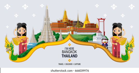 Thailand travel concept - The Most Beautiful Places To Visit In Bangkok Thailand - in flat style.