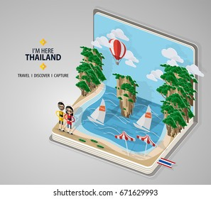 Thailand travel concept The Most Beautiful Places To Visit In Thailand. in flat design and isometric paper cut pop-up style.