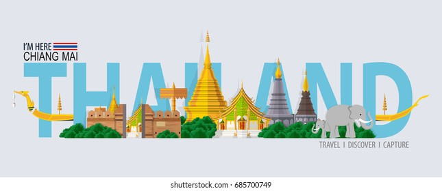 Thailand travel concept - The Most Beautiful Places To Visit In Chiang Mai Thailand - in flat style.
