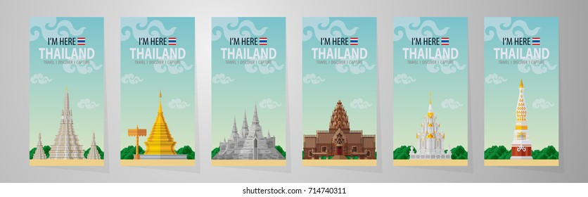 Thailand travel concept - The Most Beautiful Places To Visit In Thailand - in flat style.