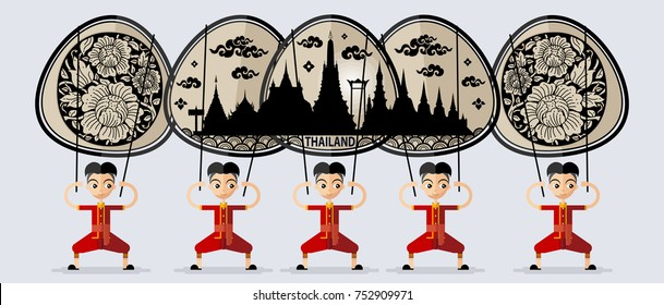 Thailand travel concept The Most Beautiful Places To Visit In Thailand. with Shadow play in flat style.
