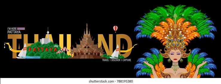 Thailand travel concept - The Most Beautiful Places To Visit In Pattaya Thailand - in flat style.