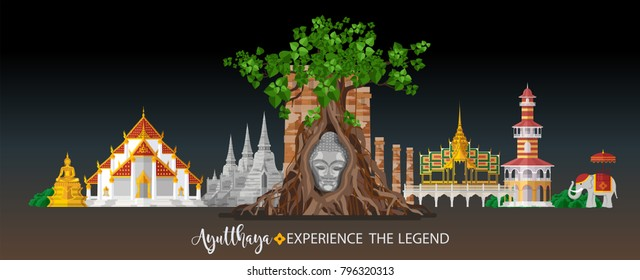 Thailand travel concept - The Most Beautiful Places To Visit In Ayutthaya Thailand - in flat style.