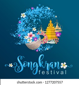 Thailand travel concept, Songkran Festival and the most beautiful places to visit in thailand flat style.