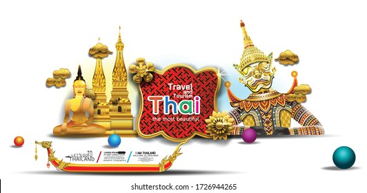 Thailand travel concept in vector illustration of Info graphic elements for traveling to Thailand,