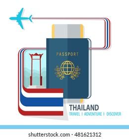 Thailand  Travel, Discover, Adventure - Most Famous Landmark in country - airplane logo  - Country Flag - Passport and Boarding pass  - in flat style.