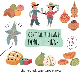 Thailand travel element with famous things in central region, doodle flat style, illustration, vector, white background