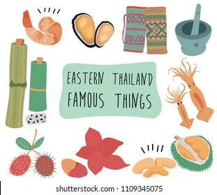 Thailand travel element with famous things in eastern  region, doodle flat style, illustration, vector, white background