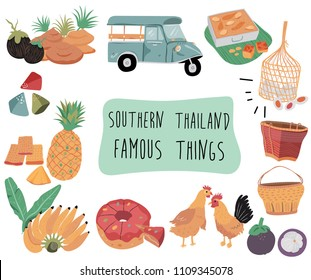 Thailand travel element with famous things in southern region, doodle flat style, illustration, vector, white background