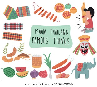 Thailand travel element with famous things in northern east or Isaan region, doodle flat style, illustration, vector, white background