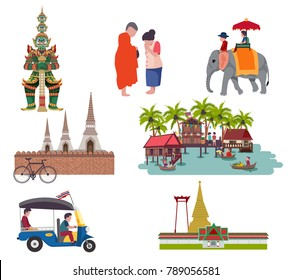 Thailand travel elements with Central region culture concept, all in flat style, isolated on white background vector illustration