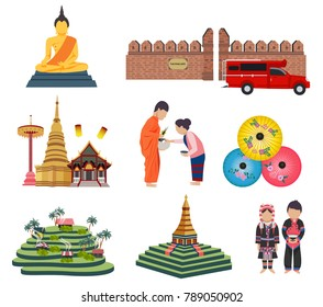 Thailand travel elements with Northern culture concept, all in flat style, isolated on white background vector illustration