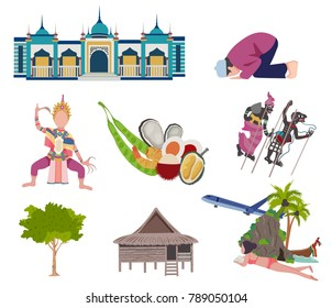 Thailand travel elements with Southern culture concept, all in flat style, isolated on white background vector illustration