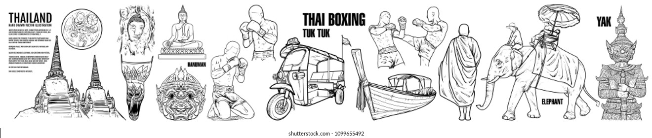 Thailand Travel Landmarks. Hand draw Vector Illustration. Amazing thailand, tuk tuk, muay thai, bangkok, Tourism Authority of Thailand, food, tom yam kung,  Siam, Asian, cuisine, guide, map