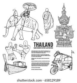 Thailand Travel Landmarks. Hand draw Vector Illustration. Amazing thailand