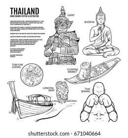 Thailand Travel Landmarks. Hand draw Vector Illustration. Amazing thailand, buddha, boxing, giant, tomyum, floating market