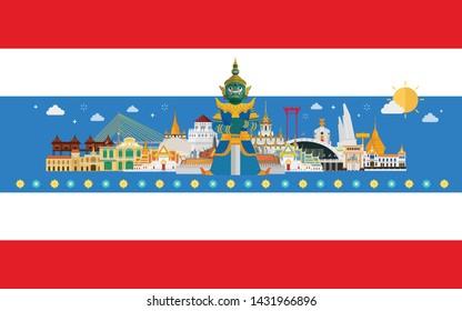 Thailand travel with landmarks on thai flag background