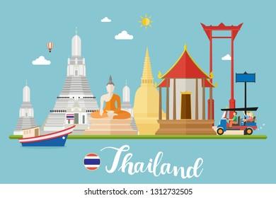Thailand Travel Landscapes Vector Illustration
