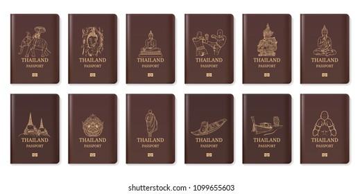 Thailand travel passport, Hand drawn Thailand, Landmark vector illustration, Amazing thailand, buddha, boxing, hanuman, ayutthaya, Temple, food, Siam, Tourism, Amazing, map, guide,  iconic, cuisine