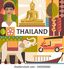 Thailand travel poster concept. Vector illustration with Thai culture and food icons, including golden statue of Buddha, a woman from the long neck village, elephant, boat, tuk tuk and durian.