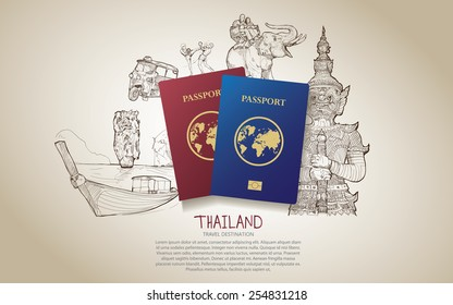 Thailand travel poster. Hand drawn Thailand. vector illustration.