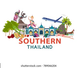 Thailand travel with Southern culture concept, all in flat style design illustration