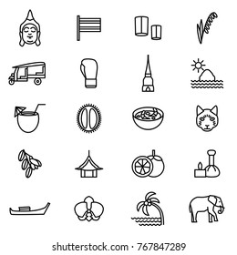 Thailand Travel and Tourism Black Thin Line Icon Set Include of Elephant, Boat, Boxing, Pagoda, Fruit and Taxi. Vector illustration