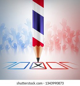 Thailand Vote 2019.Thailand election day with big pencil and hands up background. vector illustration eps 10