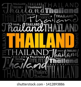 Thailand wallpaper word cloud, travel concept background