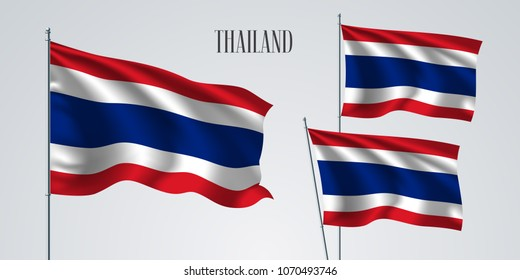 Thailand waving flag set of vector illustration. Blue red colors of Thailand wavy realistic flag as a patriotic symbol