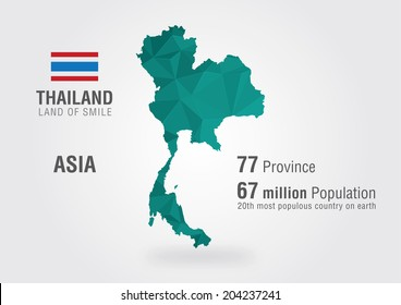 Thailand world map. Thai map with a pixel diamond texture.