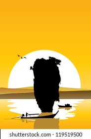 Thailand's Island and Thai people on boats silhouette at sunset, Vector