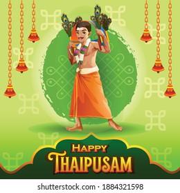 Thaipusam Greetings with Dancing Tamil Devotee