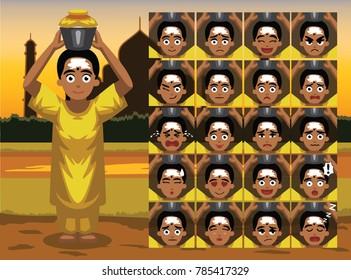 Thaipusam Tamil Woman Cartoon Emotion faces Vector Illustration