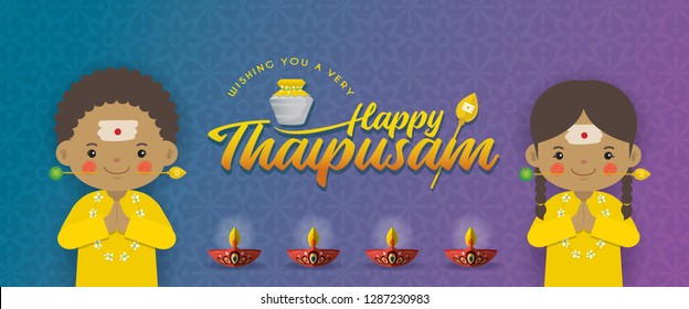 Thaipusam or Thaipoosam banner design. A festival celebrated by the Tamil community. Cartoon tamil kids with vel spear, paal kudam (milk pot) & diya (oil lamp) in flat vector illustration.