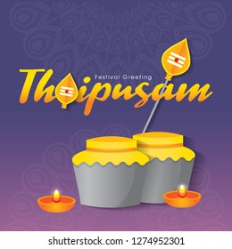 Thaipusam or Thaipoosam. A festival celebrated by the Tamil community with procession and offerings