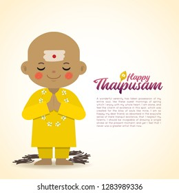 Thaipusam or Thaipoosam - festival celebrated by the Tamil community. Cartoon head shave indian boy in flat vector illustration.