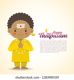 Thaipusam or Thaipoosam - festival celebrated by the Tamil community. Cartoon indian boy with vel spear in flat vector illustration.