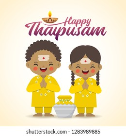 Thaipusam or Thaipoosam - festival celebrated by the Tamil community. Cartoon indian kid & paal kudam (milk pot) in flat vector illustration.