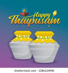 Thaipusam or Thaipoosam - A festival celebrated by the Tamil community. Paal kudam (milk pot offerings) in flat vector illustration.
