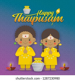 Thaipusam or Thaipoosam - a festival celebrated by the Tamil community. Cartoon tamil kids with vel spear, paal kudam (milk pot) & diya (oil lamp) in flat vector illustration.