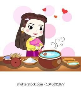 Thai-woman loves to cook a sweet thai food
