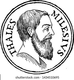 Thales of Miletus line art portrait stamp. He was a Pre-Socratic Greek philosopher, mathematician and astronomer. Vector