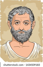 Thales of Miletus portrait in line art illustration. He was a Pre-Socratic Greek philosopher, mathematician and astronomer. Vector