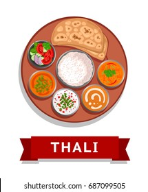 Thali. Indian national dish. Vector flat illustration.