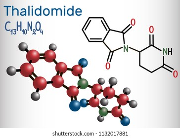 Thalidomide molecule. Is used as a treatment of multiple myeloma and of leprosy. Structural chemical formula and molecule model. Vector illustration