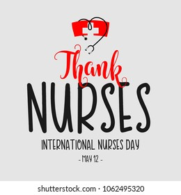 Thank Nurses International Nurses Day Vector Template Design Illustration