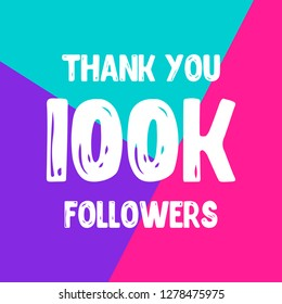 Thank you 100 000 followers social network post. Vector illustration