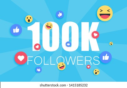 Thank you 100 000 followers background. Congratulating networking thanks, net friends abstract image, customers 100 000k sign. Isolated smiling people, like thumbs up, heart like.